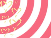 Yellow hearts on pink white striped background, Valentine`s day royalty free stock images