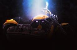 Yellow heavy bike. Dark soft lighting Royalty Free Stock Image