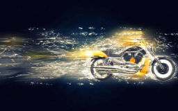 Yellow heavy bike. Stardust illustration Stock Photography