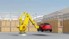 Yellow heavyweight robotic arm carrying red SUV in logistics center. 3D rendering animation stock video