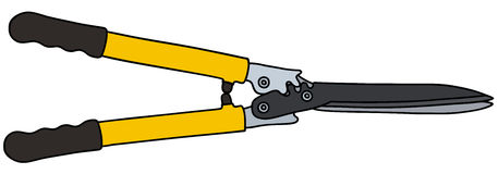 Yellow hedge shears. Hand drawing of a yellow hedge shears Royalty Free Stock Image