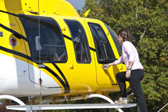 Yellow Heilcopter stock image