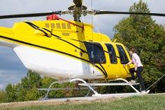 Yellow Heilcopter Stock Photo