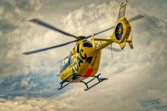 Yellow Helicopter Stock Images