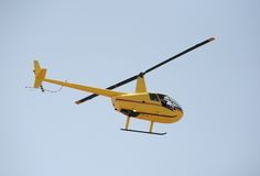 Yellow helicopter Royalty Free Stock Images