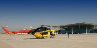 The yellow helicopter Royalty Free Stock Photography