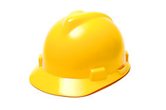 Yellow helmet. Isolated yellow hard helmet with copy space Royalty Free Stock Photography