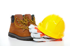Yellow Helmet And Shoes Stock Photos