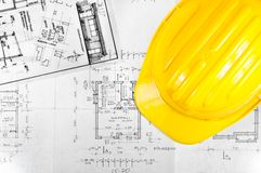 Yellow helmet of an engineer Stock Image