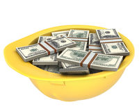Yellow helmet full of dollars Stock Photos