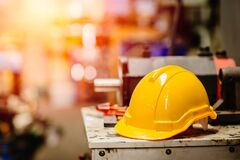 Free Yellow Helmet Hardhat Safety For Factory Worker Working In Danger Workplace With Space For Text Royalty Free Stock Image - 175591146