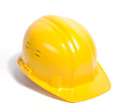 Yellow helmet isolated. On white, with shadow  [with clipping path Royalty Free Stock Photos
