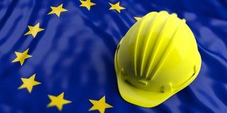 Yellow helmet over European Union flag. 3d illustration. Yellow construction hat over EU flag. 3d illustration Royalty Free Stock Photos