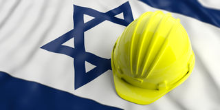 Yellow helmet over Israel flag. 3d illustration. Yellow construction hat over Israel flag. 3d illustration Royalty Free Stock Photo