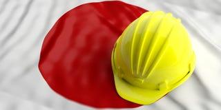 Yellow helmet over Japan flag. 3d illustration. Yellow construction hat over Japan flag. 3d illustration Stock Images