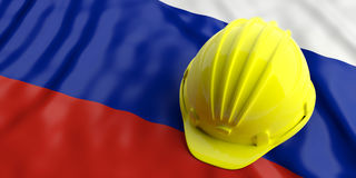 Yellow helmet over Russia flag. 3d illustration. Yellow construction hat over Russia flag. 3d illustration Royalty Free Stock Photos