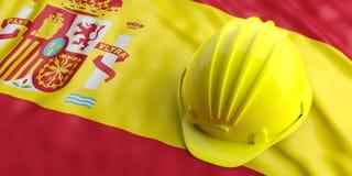 Yellow helmet over Spain flag. 3d illustration. Yellow construction hat over Spain flag. 3d illustration Stock Images