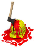 Yellow helmet pierced by an axe Royalty Free Stock Image