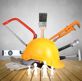 Yellow helmet plastic safety and tools Stock Image