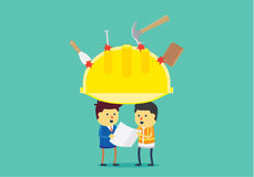 Yellow helmet protect head of engineer Royalty Free Stock Photos