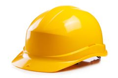 Yellow helmet on the table Royalty Free Stock Photo