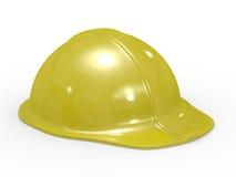 Yellow helmet on white background Stock Photo
