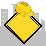 Yellow helmet and yellow banner  drawing. Yellow helmet and yellow banner drawing and white background Royalty Free Stock Image