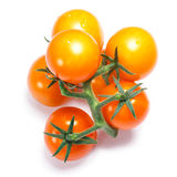 Yellow herry tomatoes on the vine, paths, top view Royalty Free Stock Image