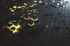 Yellow hexagon background Stock Images