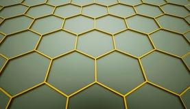 Yellow hexagonal cells background Stock Image