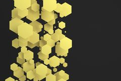 Yellow hexagons of random size on black background. Abstract background with hexagons. Cloud of hexagons in front of wall. 3D rendering illustration Royalty Free Stock Images