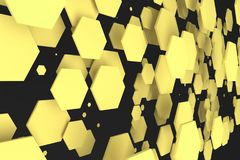 Yellow hexagons of random size on black background. Abstract background with hexagons. Cloud of hexagons in front of wall. 3D rendering illustration Stock Photos