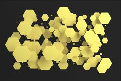 Yellow hexagons of random size on black background. Abstract background with hexagons. Cloud of hexagons in front of wall. 3D rendering illustration Royalty Free Stock Photos