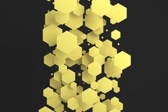 Yellow hexagons of random size on black background. Abstract background with hexagons. Cloud of hexagons in front of wall. 3D rendering illustration Stock Image