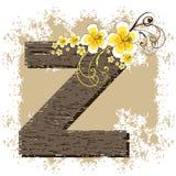 Yellow hibiscus alphabet Z. Yellow hibiscus grunge vintage alphabet Z Stock Photography