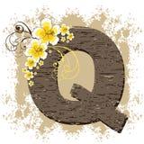Yellow hibiscus vintage alphabet Q. Yellow hibiscus grunge vintage alphabet Q Royalty Free Stock Photo