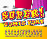 Yellow high detail comic font, alphabet. Comics, pop art Royalty Free Stock Photography