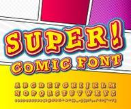 Yellow high detail comic font, alphabet. Comics, pop art vector illustration