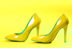 Yellow high heels Royalty Free Stock Image