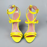 Yellow high heels shoes Stock Images