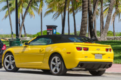 Yellow high tech Chevrolet Camaro SS convertible Royalty Free Stock Image