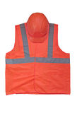 Yellow high visibility vest and protective helmet. On white background Stock Photo