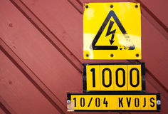Yellow high voltage caution sign Stock Photography