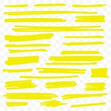 Yellow highlight marker vector brush paint lines vector illustration