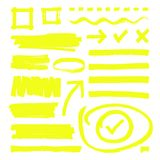 Yellow highlighter lines, arrows and frame boxes with grunge texture isolated vector stock. Sketch hand line and highlighter yellow illustration Stock Photo