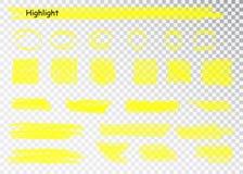 Yellow Highlighter Marker Strokes. Vector brush pen underline lines. Yellow watercolor hand drawn highlight set. Yellow Highlighter Marker Strokes. Vector brush royalty free illustration