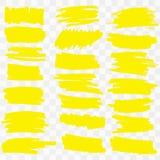 Yellow Highlighter Marker Strokes. Vector brush pen underline lines. Yellow watercolor hand drawn highlight set Vector illustration EPS10 stock illustration