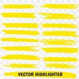 Yellow Highlighter Marker Strokes. Vector brush pen underline lines. Yellow watercolor hand drawn highlight set Vector illustration EPS10 royalty free illustration
