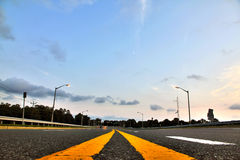 Yellow Highway Stripes Stock Photo