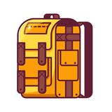 Yellow Hiking Backpack Icon Royalty Free Stock Photo